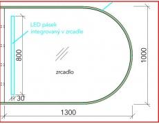 Koupelnové zrcadlo s LED osvětlením 130x100 cm ATYPICKÉ