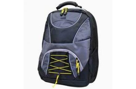 """Batoh na notebook 15,4""""  SPORTY, se žlutou šnůrkou, šedo-černý, nylon, kompletně vyztužený, LOGO"""