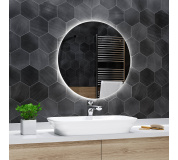 Koupelnové zrcadlo kulaté s LED podsvícením Ø 120 cm BALI podsvětlené