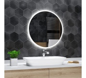 Koupelnové zrcadlo kulaté DELHI s LED podsvícením Ø 60 cm podsvětlené