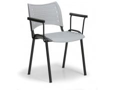 Konfereční židle plastová Smart s područkami šedá, černý kov, židle konferenční