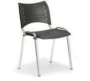 Konfereční židle plastová Smart černá,chromovaný kov, židle konferenční