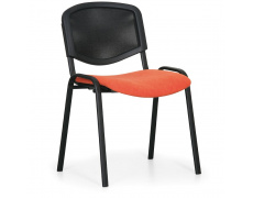 Konfereční židle čalouněná Viva Mesh oranžová, černý kov, židle konferenční