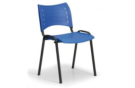 Konfereční židle plastová Smart modrá,černý kov,  židle konferenční