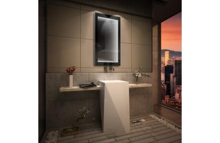 Koupelnové zrcadlo s LED osvětlením 80x60 cm 3D efekt, RGB