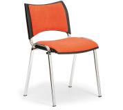 Konfereční židle čalouněná Smart oranžová, chromovaný kov, židle konferenční