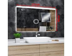 Koupelnové zrcadlo s LED podsvětlením 177x80 cm DUBAI+horní průzor, IP44, NEUTRÁLNÍ