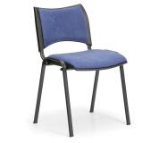 Konfereční židle čalouněná Smart modrá, černý kov, židle konferenční