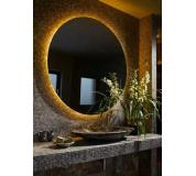 Koupelnové zrcadlo kulaté s LED podsvícením Ø 100 cm BALI podsvětlené