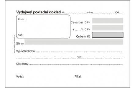 Výdajový pokladní doklad obyčejný ET040