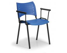Konfereční židle plastová Smart s područkami modrá, černý kov, židle konferenční