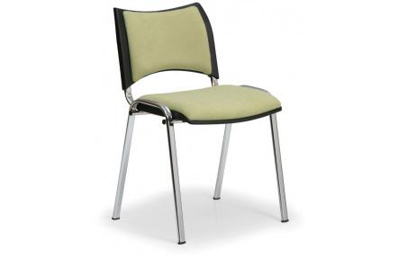 Konfereční židle čalouněná Smart zelená, chromovaný kov, židle konferenční