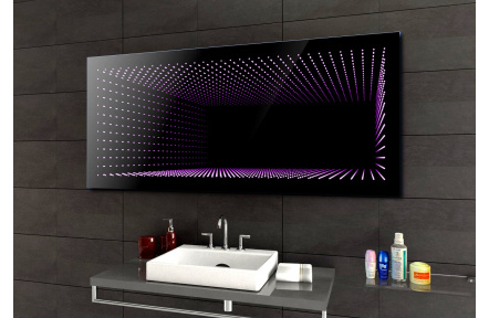 Koupelnové zrcadlo s LED podsvětlením PEKIN 120x70 cm 3D efekt, RGB ,