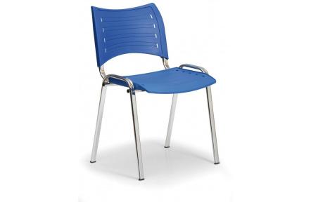 Konfereční židle plastová Smart modrá,chromovaný kov, židle konferenční
