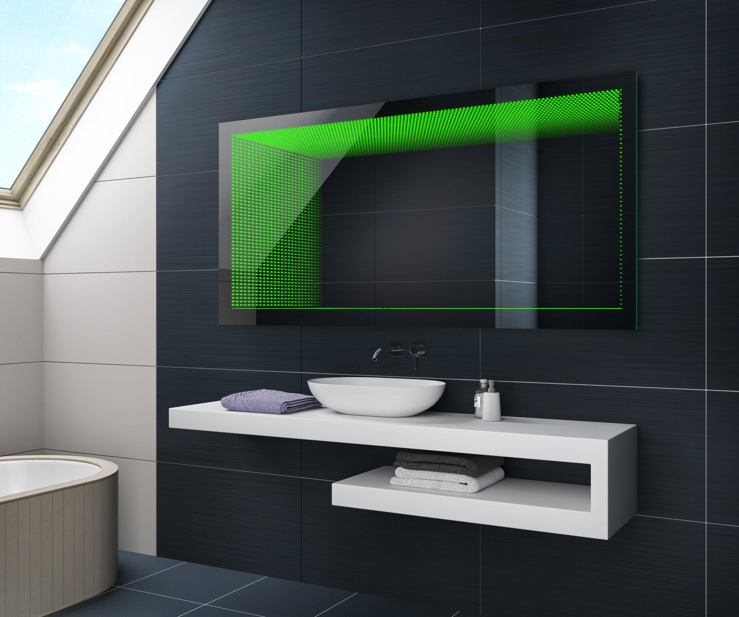 Koupelnové Zrcadlo S Led Osvětlením 70x50 Cm 3d Efekt Rgb